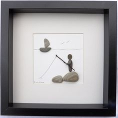 Scottish pebble art picture: beach fisherman by PebblePictures