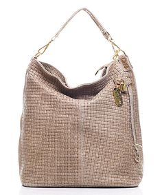 Look at this Anna Morellini Taupe Woven Leather Large Hobo on #zulily today!