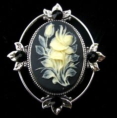 Cameo Brooch or Pendant Black and Creme Color Rose by Hurstjewelry, $16.00