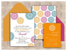 The Palini Chakra Collection - Indian Wedding Invitation for Henna Parties or Bridal Showers