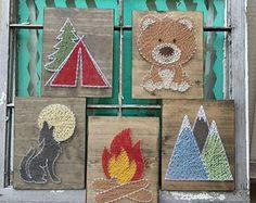 Woodland Camping Signs, String Art Animals, String Art Tent, Howling Wolf Sign, Bear String Art, Nail Art Campfire, String Art Mountains