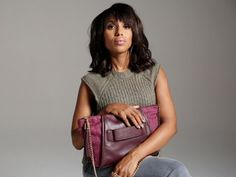"""""""Scandal"""" actress Kerry Washington films a public-service announcement for the Allstate Foundation Purple Purse campaign in support of women affected by dome. Fashion Line, New Fashion, Purple Purse, Kerry Washington, Grey Pants, Line Design, Beautiful Actresses, Scandal, Style Icons"""