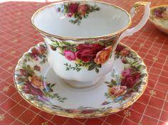 Old Country Roses Royal Albert English Fine Bone China Vintage Teacup & Saucer Set - Antique Damask style rose pattern - burgundy, pink on Etsy, $22.50