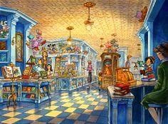 Storybook Store, Disneyland Paris (never built) - Carol Grosvenor Disney And More, Disney Love, Parc Eurodisney, Walt Disney Imagineering, Disney Artwork, Disney Concept Art, Old Disney, Disney Sketches, Walt Disney Studios