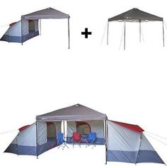 Camping Tent 4 Person BUNDLE Canopy Shelter Awning Hiking Outdoor Family Camp