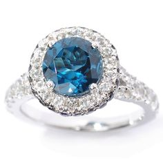 Sterling Silver London Blue Topaz, Iolite and White Topaz Halo Ring - Overstock™ Shopping - Top Rated Gemstone Rings