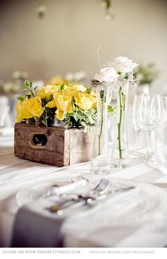 Yellow, white and green - so perfect in this rustic spring wedding look.