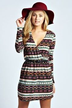 Shania Aztec Brush Knit Belted Wrap Dress