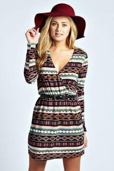 Shania Aztec Brush Knit Belted Wrap Dress