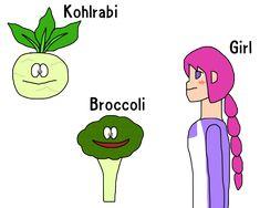Kohlrabi, Broccoli, Girl / #Food #Vegetable #SXGA / こぶし (コールラビ、ブロッコリー、少女)