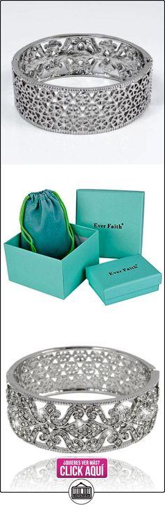 EVER FAITH® - Cristal Austriaco Fleur-de-lis Novia Brazalete Claro Plata-Tono N02169-1  ✿ Joyas para mujer - Las mejores ofertas ✿ ▬► Ver oferta: https://comprar.io/goto/B00IJ120E6