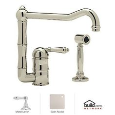 Rohl A3608/11LMWS-2 Country Kitchen Kitchen Faucet with Side Spray and Metal Lev Satin Nickel Faucet Kitchen Single Handle