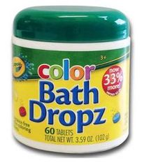 • Blue, yellow and red<br>• Nontoxic<br>• Fragrance free<br>• 45 quick-dissolving tablets<br><br>Popular with kiddos, Crayola Color Bath Dropz are water-coloring tablets that let you make your child's bathwater turn bright Crayola colors. You can also mix Crayola Bath Dropz to make new colors.