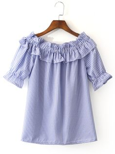 Shop Blue White Stripe Short Sleeve Ruffle Boat Neck Blouse online. SheIn offers Blue White Stripe Short Sleeve Ruffle Boat Neck Blouse & more to fit your fashionable needs.