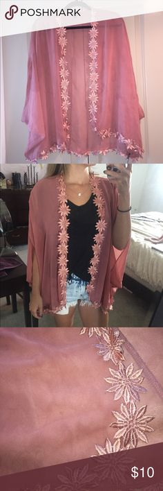 Rose Cardigan Rose Floral Cardigan. Size Small. In excellent condition. Only worn a few times. Lace flower embroidered around the edges. Perfect for summer time!              100% polyester Forever 21 Jackets & Coats
