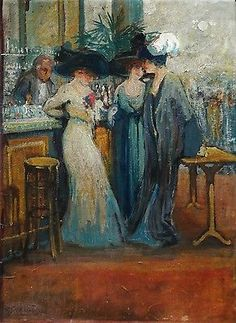 GEORGES PARENT (c.1880-1940) SIGNED & DATED 1912 FRENCH IMPRESSIONIST OIL CAFE