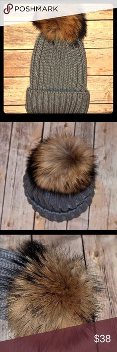 Real Fur Pom Knit Winter Beanie Hat - Gray Grey pom knit hat with a real fur pom on top. Incredibly soft and warm.  *All prices are firm.  Bundle for 10% off 3 or more items*  🎉Visit my site as listed in the profile to save 🎉 Accessories Hats