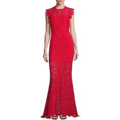 Rachel Zoe Women's Estelle Lace Gown (9,725 MXN) ❤ liked on Polyvore featuring dresses, gowns, rouge, red lace gown, floral lace dress, lace evening gowns, red gown and floral gown