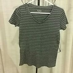 Gray With Black Stripes Casual Tee Perfect condition! Thin black stripes. Can go with anything dress up or down Merona Tops Tees - Short Sleeve