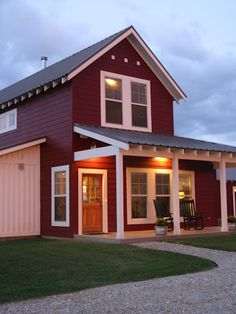 Farmhouse Red with board & batten siding