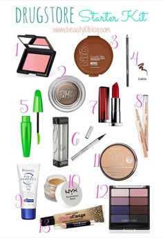 Great drugstore makeup list for someone just gettin' into makeup, both teens and women alike!  pinterest: @rosajoevannoy