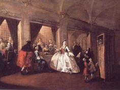 """Il parlatoio delle Monache di San Zaccaria-Francesco Guardi 1745-1750 nel convento venivano monacate le figlie delle piu'importanti famiglie veneziane notare """"lo spettacolo dei burattini per i bambini"""""""