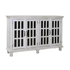 White Rub Four Door Credenza Coast To Coast Imports Buffets Buffets & Sideboards Kitchen