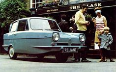 My Dad's three-wheeled Reliant Regal didn't look quite as stylish as this one in the brochure, but then neither did my duffel coat.  I had to endure a blue Supervan Mk. III, a  a brown Regal, and an orange Robin at the school gates, but had left for university by the time he upgraded to a four-wheeled yellow Kitten
