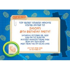 cute spy invitation - website has all sorts of matching stuff