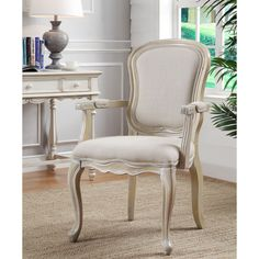 Accents Ivory Wash Finish Accent Chair