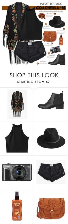 """""""Pack for Coachella!"""" by palmtreesandpompoms ❤ liked on Polyvore featuring French Connection, Lipstik, Chicnova Fashion, BeckSöndergaard, One Teaspoon, Hawaiian Tropic, Sole Society and packforcoachella"""