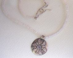 Tiny baby pink rose quartz beaded necklace with fine silver Butterfly pendant set with moonstone