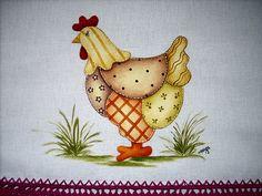 Pintura em tecido galinha Pintura em tecido