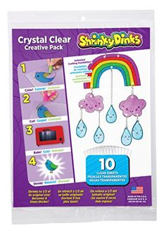 Shrinky Dinks Creative Pack 10 Sheets Crystal Clear Shrin...
