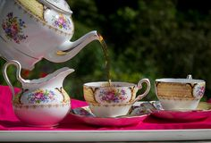 """Beautiful china makes it more """"elegant"""".  Which pretty cup and saucer do I want to use today?  Maybe one of my greatgrandmother's?"""