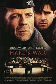 Hart's War (2002) A law student becomes a lieutenant during World War II, is captured and asked to defend a black prisoner of war falsely accused of murder.  Bruce Willis, Colin Farrell, Terrence Howard...7b