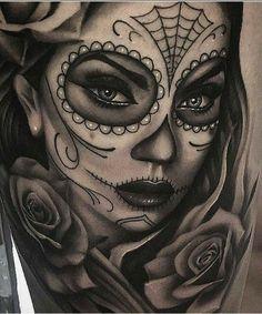 Skull woman tattoo - new tattoo models - skull woman tattoo . - Skull woman tattoo – new tattoo models – skull woman tattoo – - Skull Candy Tattoo, Candy Skulls, Sugar Skull Girl Tattoo, Sugar Skulls, Chicano Tattoos, Body Art Tattoos, Sleeve Tattoos, Tattoo Neck, Pin Up Girl Tattoo