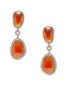 Amrapali - DIAMOND & HAAS GARNET DOUBLE DROP EARRINGS   Gilt