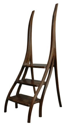 David Ebner (), American / library steps (ladder) with curving sides, carved and sculpted wood, signed (initials) and dated 2009, USA