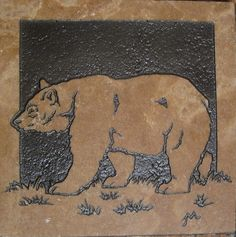 6x6 Black Bear Etched Stone Tile by TileGoddess on Etsy, $65.00