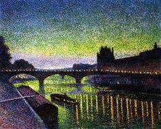The Louvre and Pont du Carrousel, Night Effect~Maximilien Luce