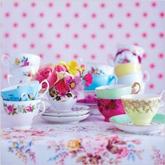 Selina Lake Card range for @abacuscards Vintage Teacups - Styling by Selina Lake Photography by Sussie Bell
