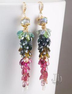 Arcobaleno earrings ... Multi colour Tourmaline por JewelleryHaven