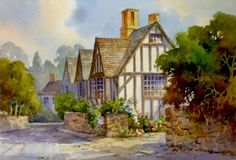 Shakespeare Memories , Watercolor Painting of Stratford on Avon England - Watercolor Paintings by Roland Lee