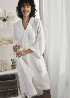 Our bestselling Waffle Double-Faced Robe has been reinvented for Spring and Summer. Made with single-faced cotton waffle for a lighter feel, this style has slightly cropped kimono sleeves and comes in classic white. Thoughtful Gifts For Her, Special Gifts For Her, Presents For Her, Perfect Gift For Her, The White Company, Knit Shorts, Cotton Shorts, Waffle Knit, Classic White