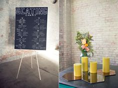 Cool reflective tiles + candles...maybe for guestbook display?  Or place cards?