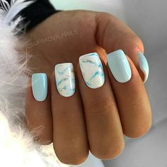 Nägel Gel funkeln 33 Examples Of Nail Designs For Short Nails To Inspire You Fancy Nails Designs, Marble Nail Designs, Short Nail Designs, Beautiful Nail Designs, Light Blue Nail Designs, Blue Nails With Design, Square Nail Designs, Latest Nail Designs, Different Nail Designs