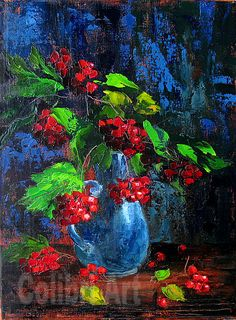 "Original Handmade Oil Painting Red viburnum 16"" x 12"" Gallery Canvas by Colibri Art Materials: gallery canvas, oil paints, palette knife Painting Oil colorful painting original painting painting for gift impressionism still life present for woman gift"