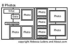 Nine Free Scrapbook Page Sketches for Layouts with Lots of Photos: Sketch for 8 Photos