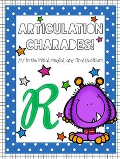 Articulation charades game for pediatric #SLPs! #SLP #TPT #elementary #school #game #articulation